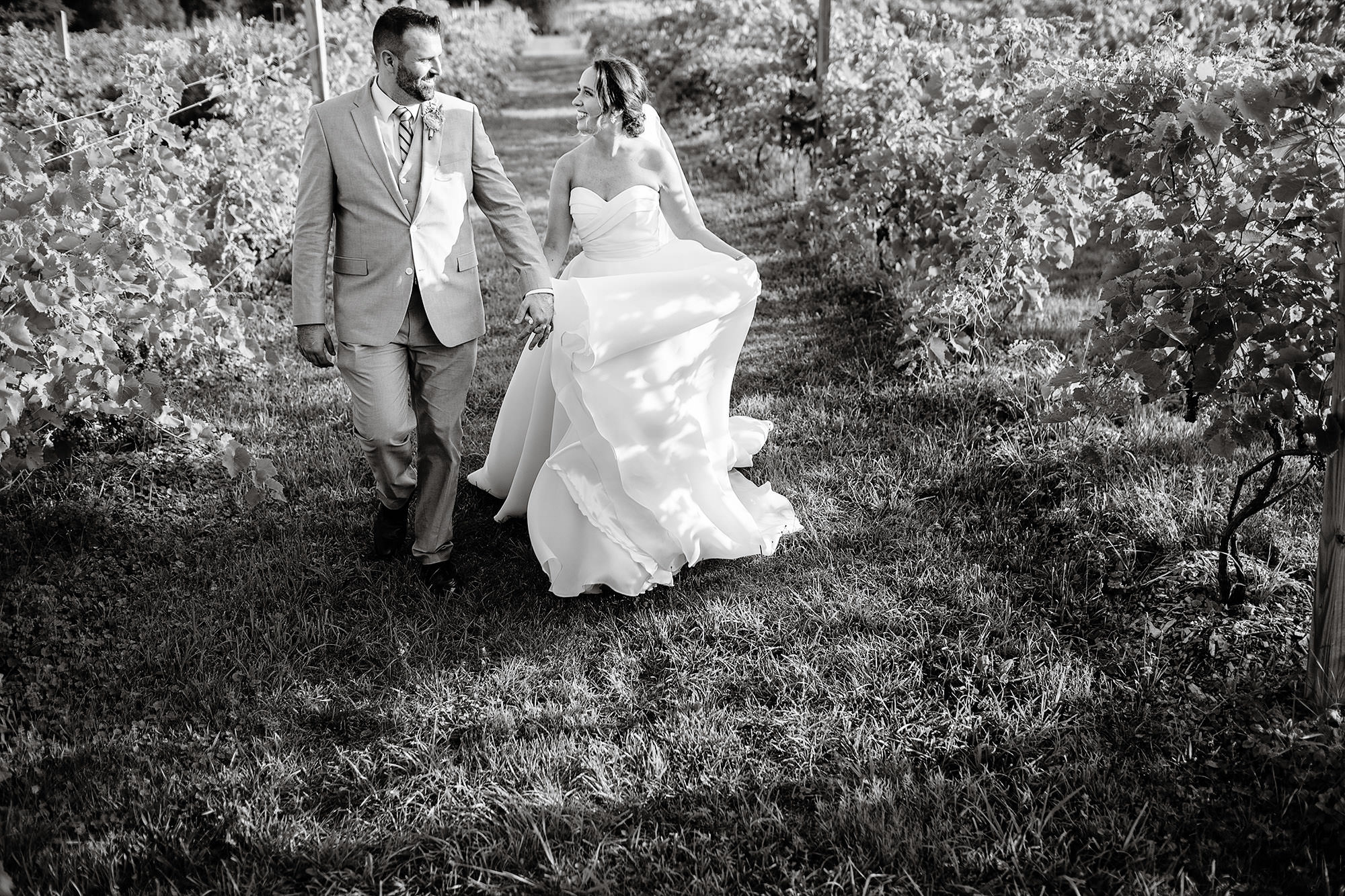 Red Maple Vineyard Wedding  I  The bride and groom walk among the vines on their wedding day.