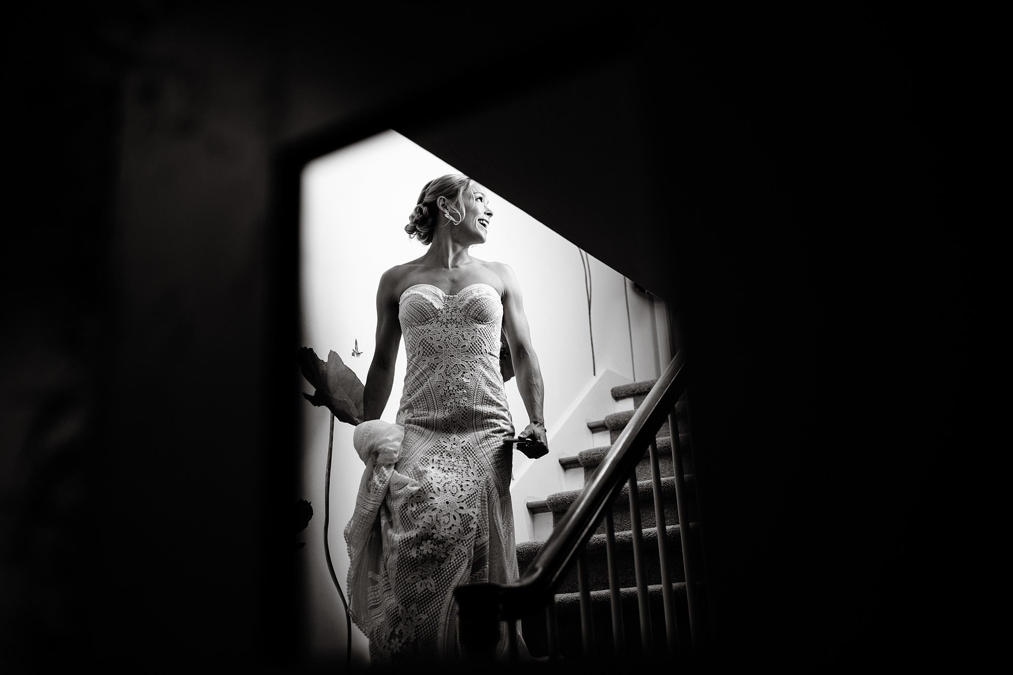 Chatham MA Wedding  I  Cape Cod Wedding  I  The bride walks down the stairs before the wedding ceremony.