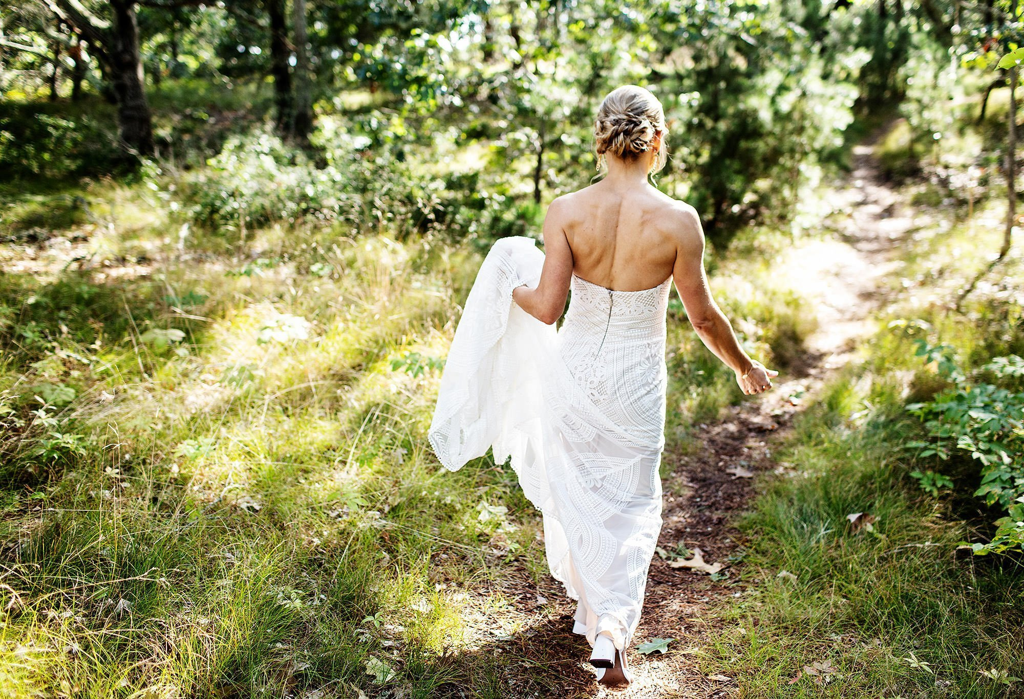 Chatham MA Wedding  I  Cape Cod Wedding  I  The bride walks to the beach.