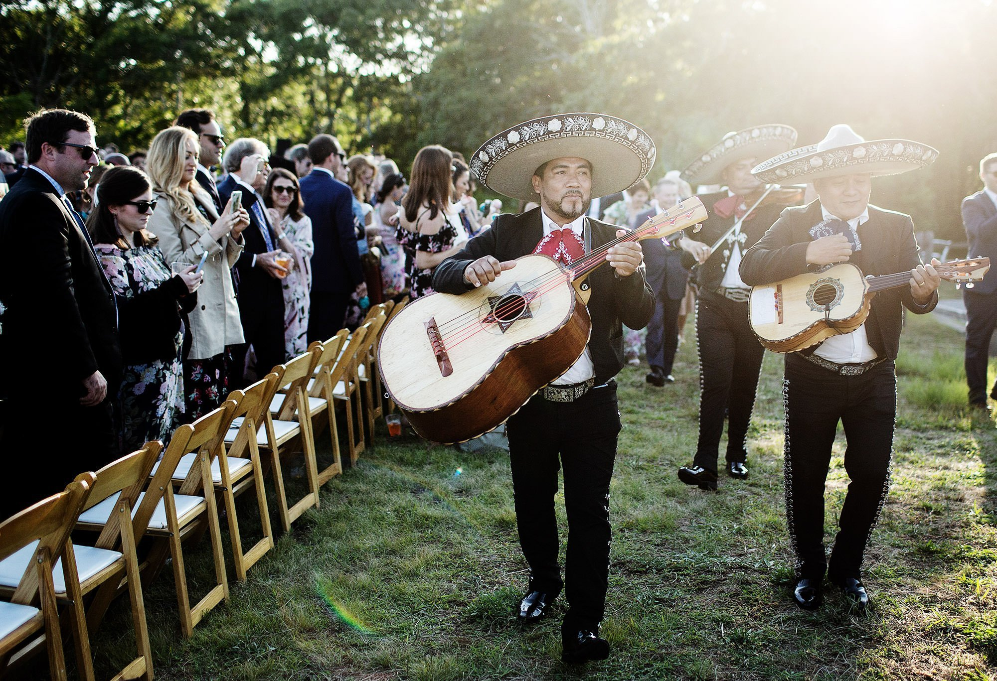 Chatham MA Wedding  I  Cape Cod Wedding  I  A mariachi band plays following the wedding ceremony  at Forest Beach in Chatham.