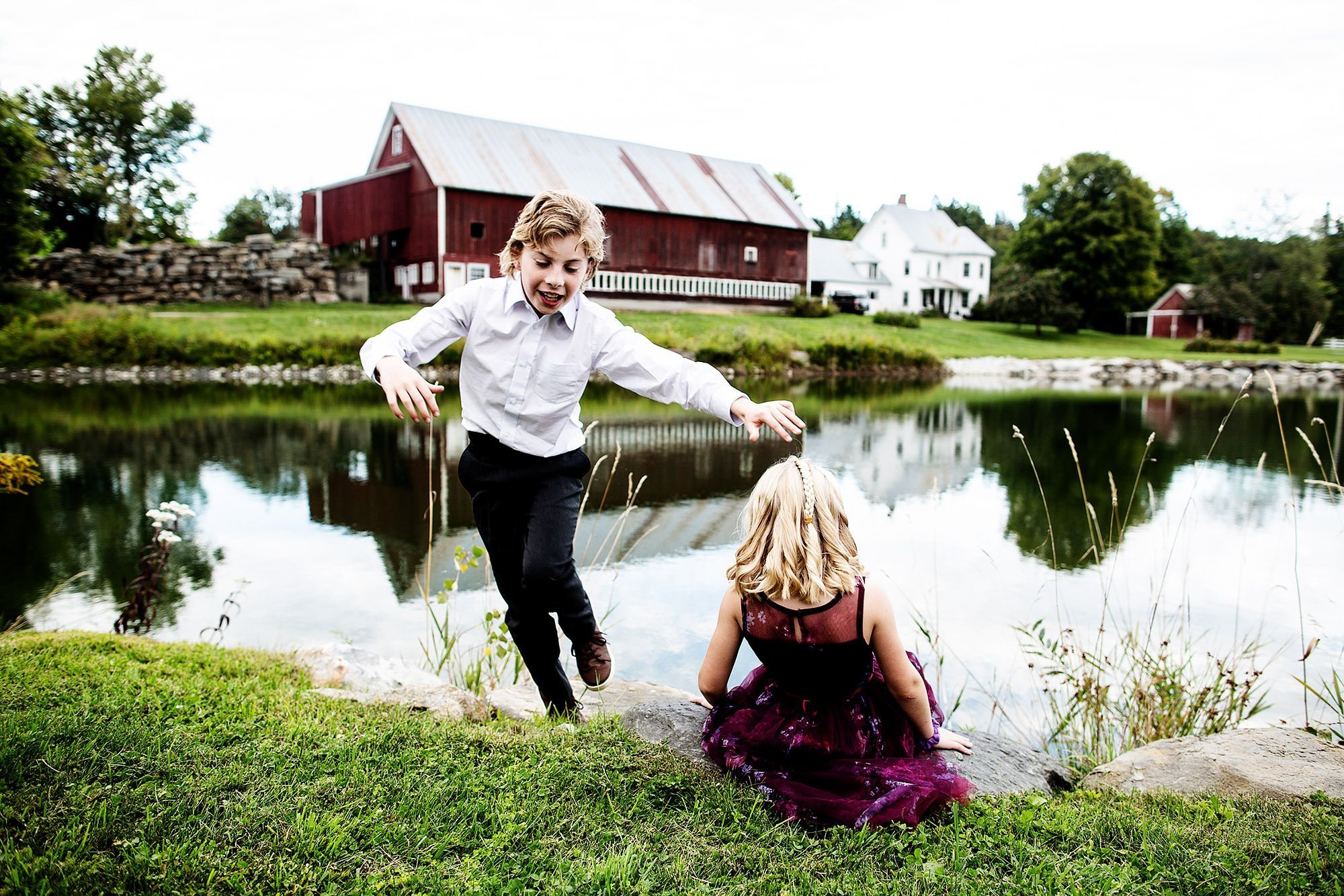 Vermont Family Farm Wedding  I  Kids play during cocktail hour.
