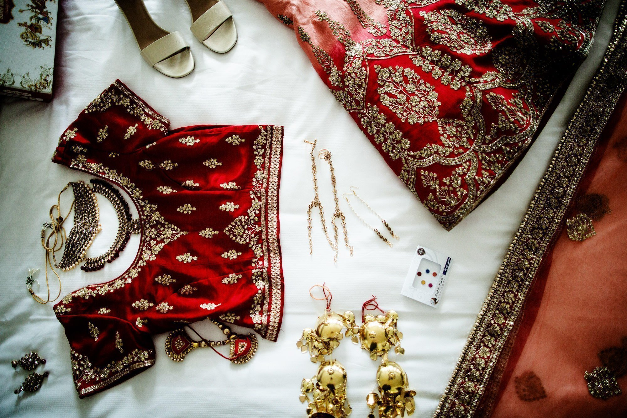Wentworth by the Sea Wedding  I  A detail of the bride's clothing before the Hindu ceremony.