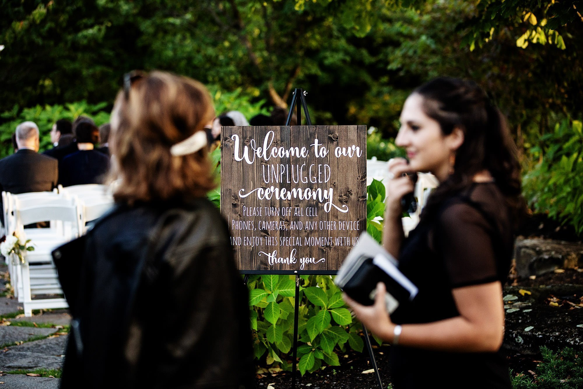 Harrington Farm Wedding  I  A sign greets guests as they arrive for the ceremony.