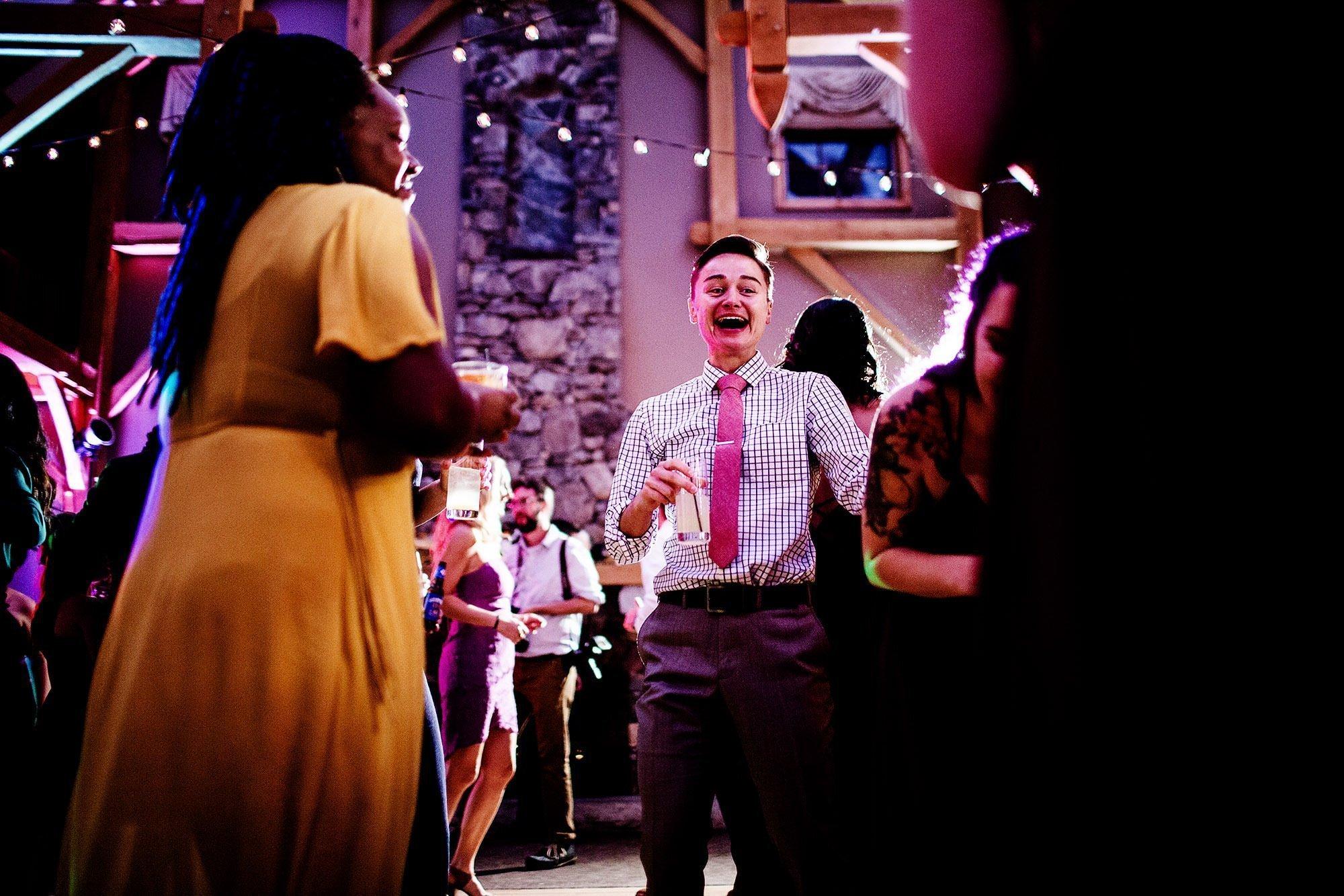 Harrington Farm Wedding  I  Guests enjoy the wedding reception.