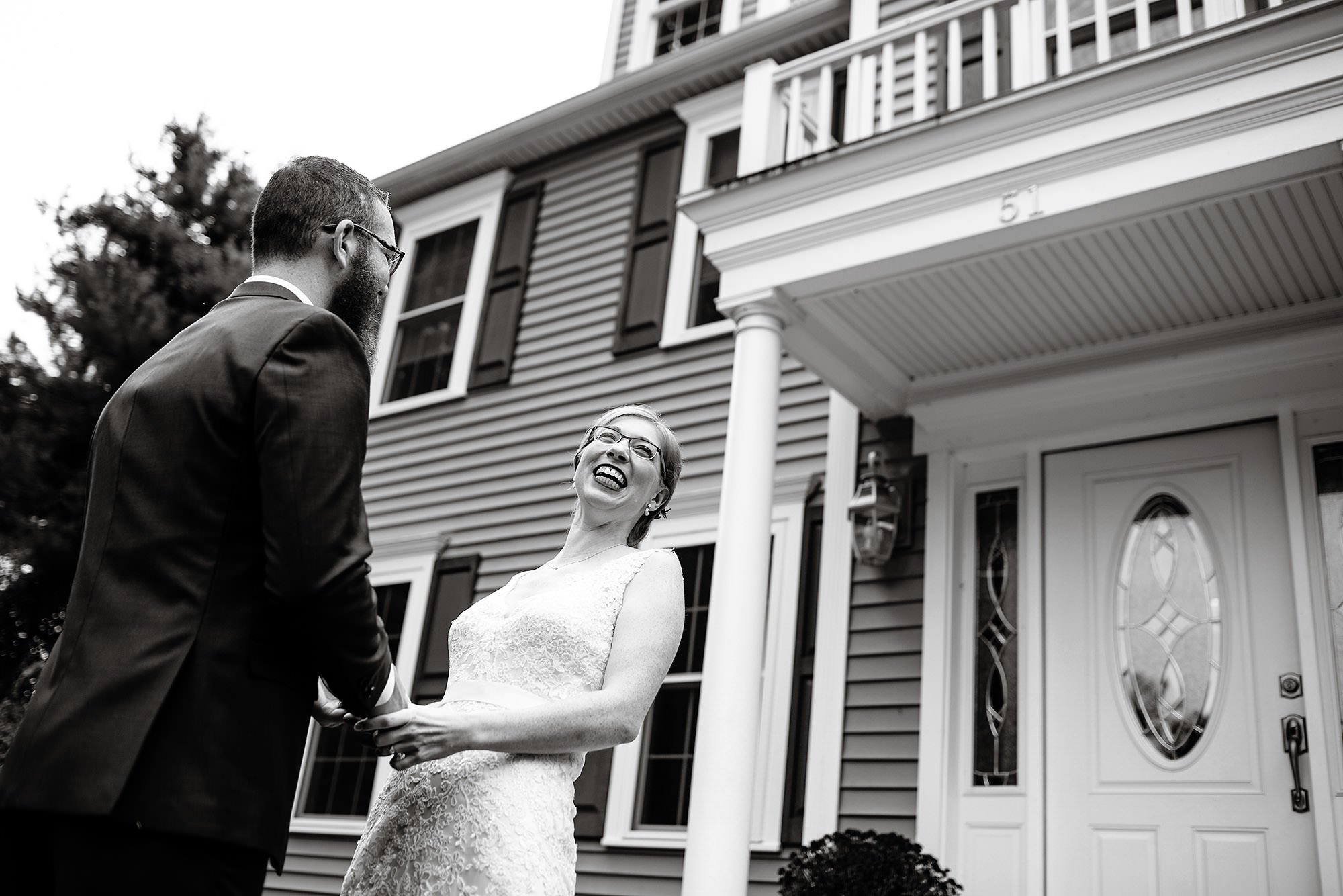 Massachusetts Backyard Wedding  I  The bride and groom share their first look before the ceremony.
