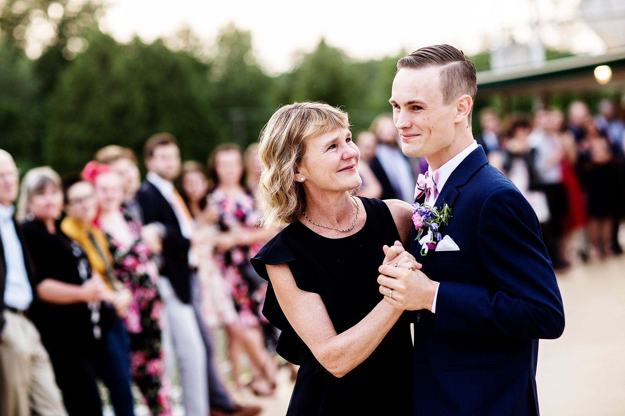 Shelburne Museum Wedding  I  The groom dances with his mother during the wedding reception.