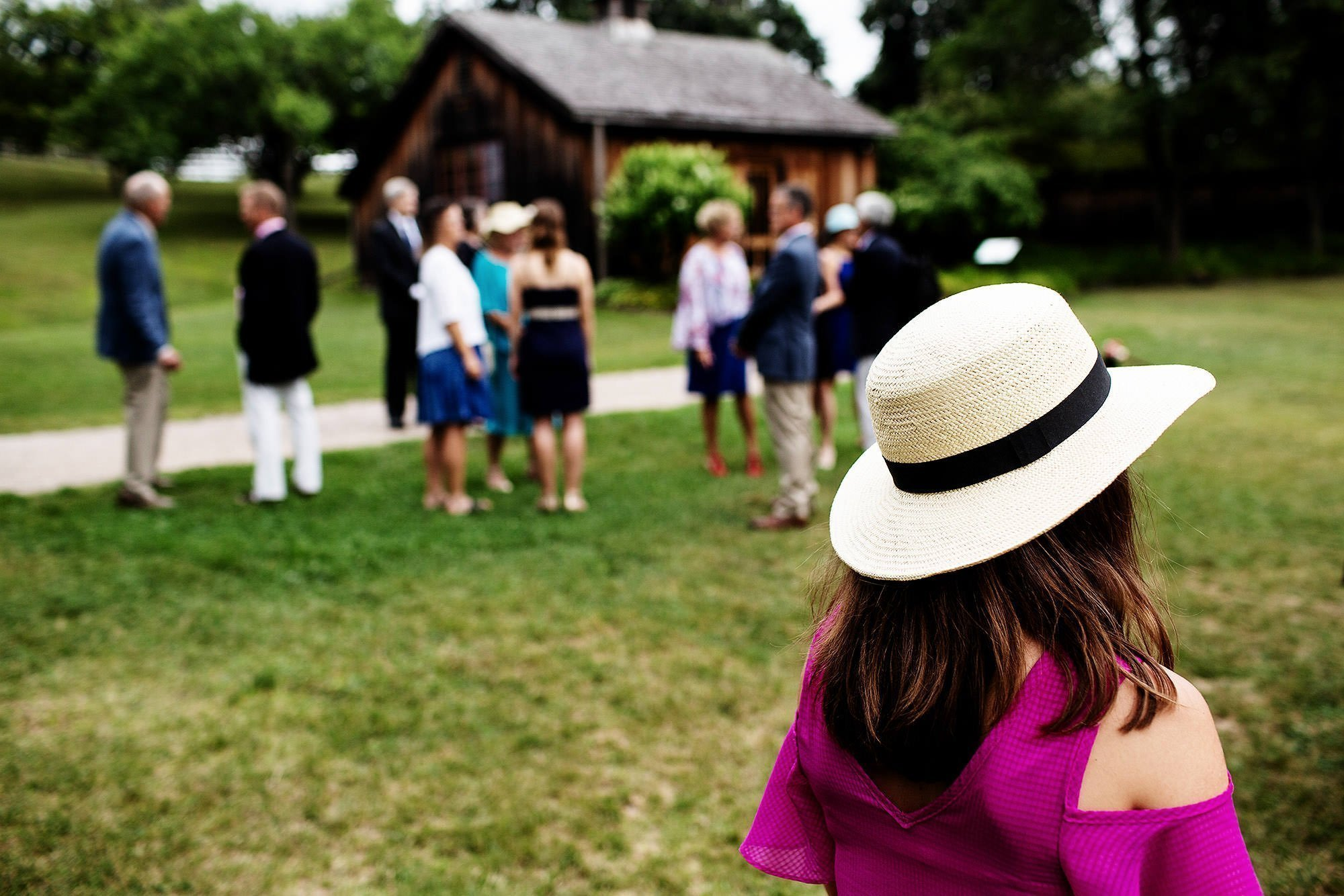 Shelburne Museum Wedding  I  Guests arrive for the wedding ceremony.