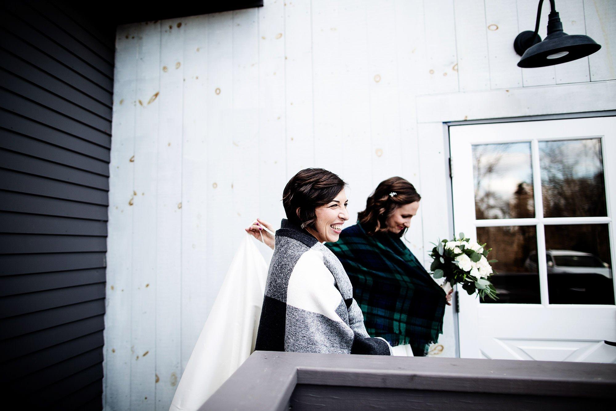 Briar Barn Inn Wedding  I  The brides step outside for portraits in Rowley, MA.