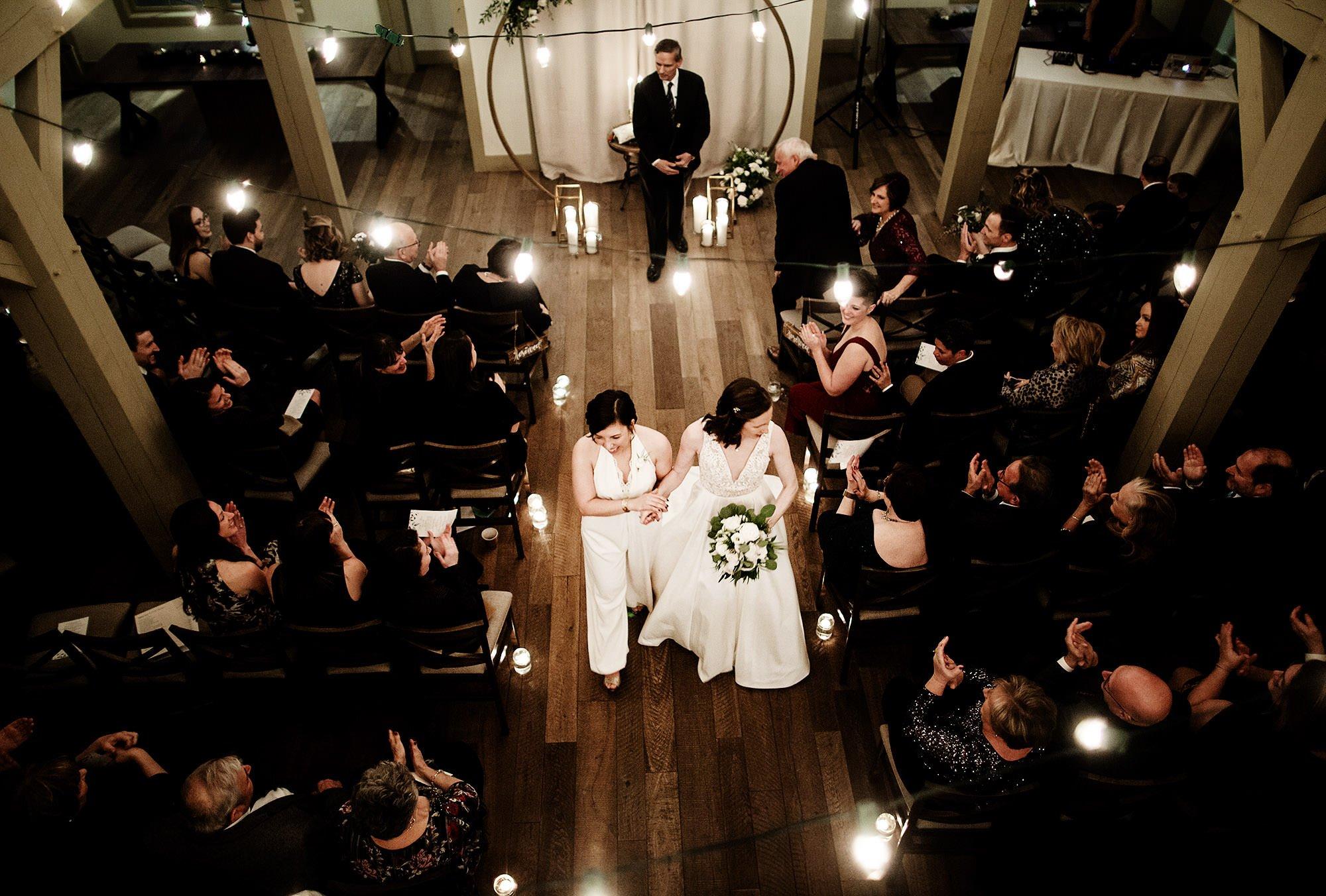 Briar Barn Inn Wedding  I  The brides walk down the aisle following the wedding ceremony.