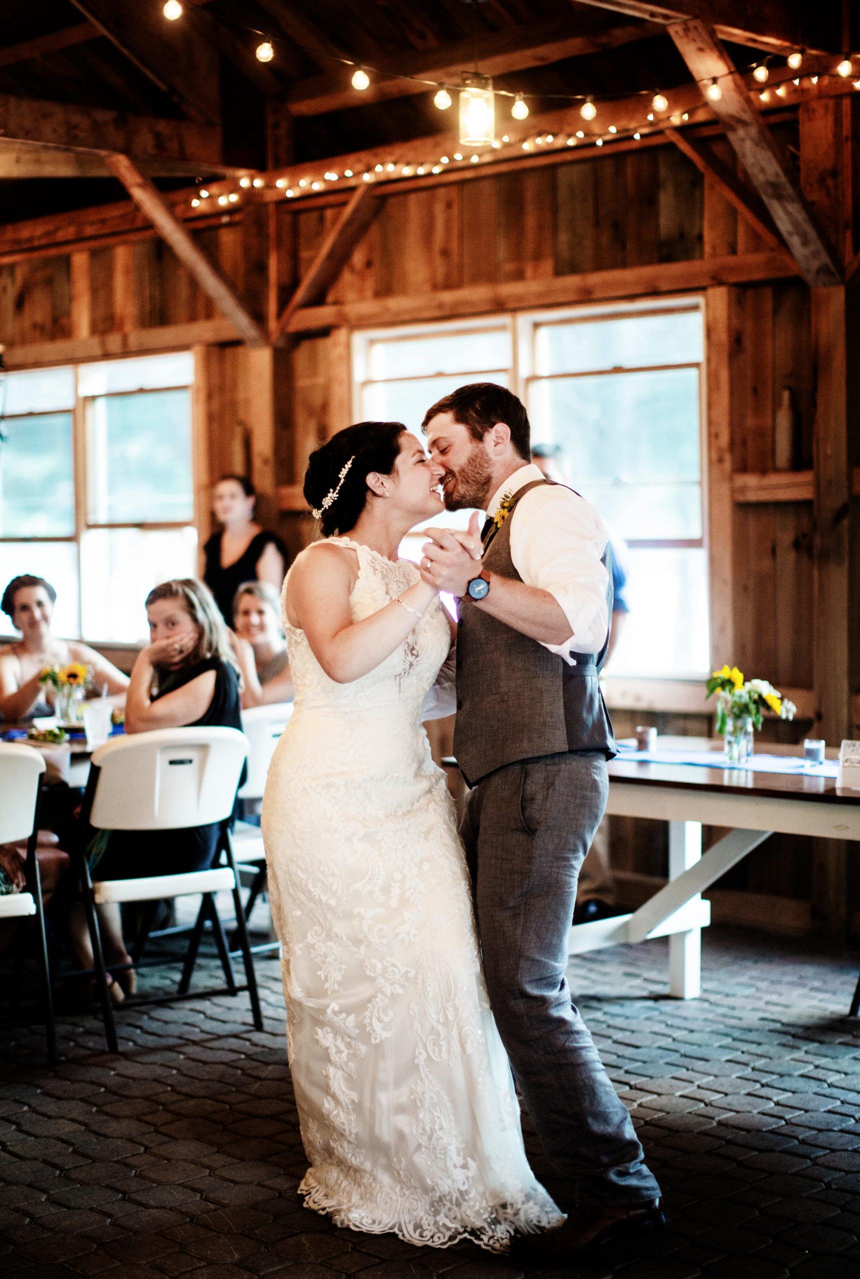 Maine Lakeside Cabin wedding  I  The couple share their first dance in Caratunk, ME.