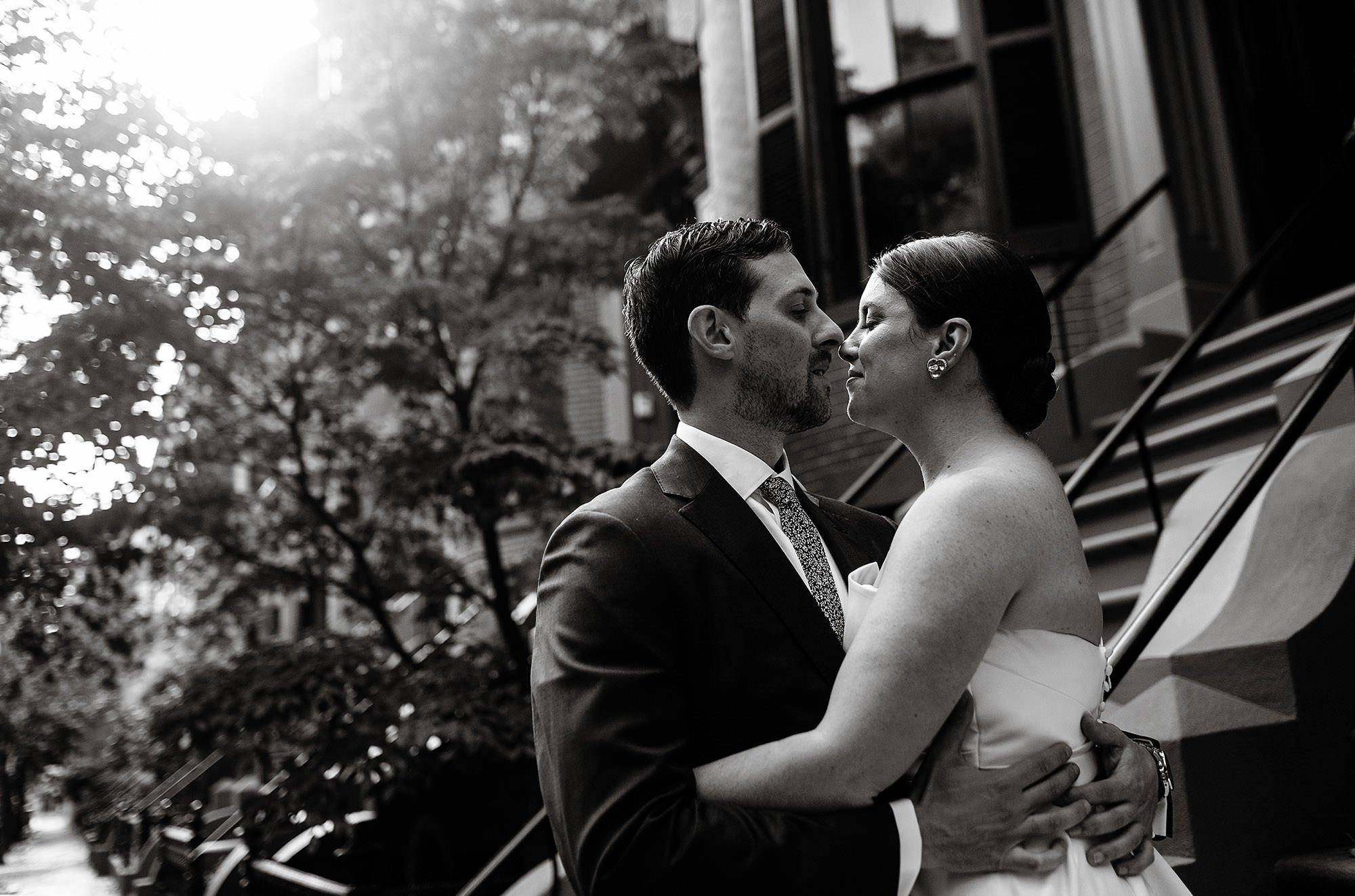 SRV Boston Wedding  I  The couple kiss before their wedding in Boston, MA.
