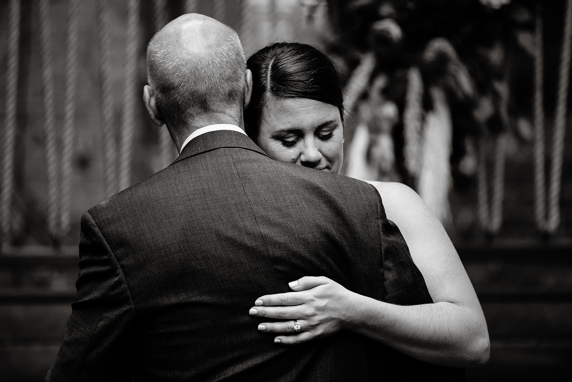 SRV Boston Wedding  I  The bride dances with her father during the wedding ceremony in Boston, MA.